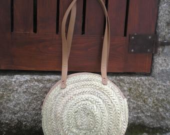 Runde Palm Leaf Korb - Tasche-Handmade-Runde Tasche-Runde Stroh Tasche-Sac Rond de Paille Stroh Runde Tasche-Bolso Redondo Paja-Ronde Strooien Zak