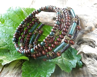 Stacked bead bracelets - stacking forest green bloodstone, wood & antiqued brass