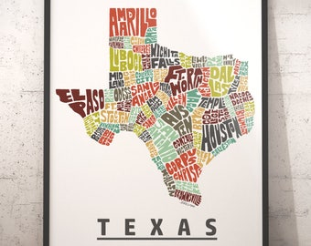 Texas map art, Texas art print, Texas typography map, map of Texas, Texas city cities map with title