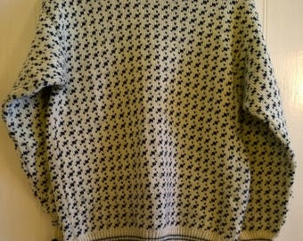 Mens traditional Icelandic wool sweater jumper by Norwear blue and white Nordic Scandi size M