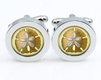 Sand Dollar cufflinks  Sand Dollar cuff links Accessories for men and women antique jewelry black white