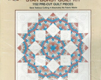 Aunt Martha Clay Prism Star Burst Quilt Kit - precut - returned item with some pieces missing.