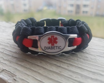 Diabetic medical alert paracord bracelet