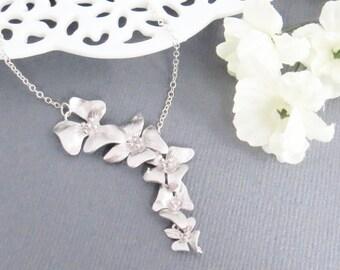 Orchids Necklace, Lariat Necklace, Valentines Day, Necklace for Her, Necklace for Mom, Wedding Necklace, Bridesmaid Necklace