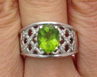 Peridot Ring with Big 2.10 Carat Oval Cut Peridot and Round Diamobds - 14K White Gold Lattice Diamond Ring
