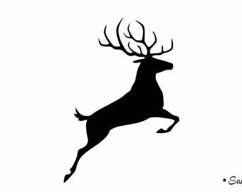 Deer reindeer leaping fusible applique
