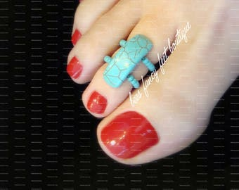Turquoise Toe Ring, Turquoise Stone, Stretch Bead Toe Ring