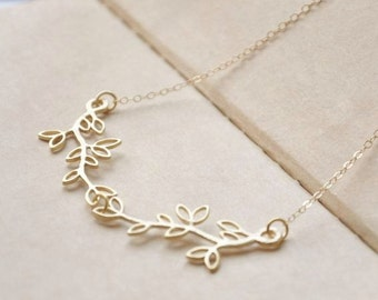 Gold Double Olive Branch Necklace/ Gold Necklace/ Dainty Necklace/ Nature Inspired Necklace/ Leaf Necklace/ Delicate Necklace