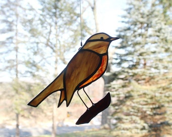 Stained Glass Robin Suncatcher, Bird Suncatcher, American Robin, Glass Art, Wildlife Art, Bird Lovers Gift