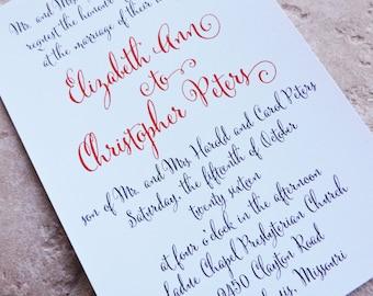 Wedding Invitation Brush Script Invitation - Deposit