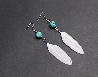 White feather earrings with turquoise gemstone Bohemian jewelry Ethnic earrings  Boho chic White earrings Gift for her Womens gift Summer
