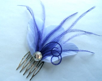 CHERI Lavender and Purple Feather Hair Comb, Purple Bridal Hair Comb