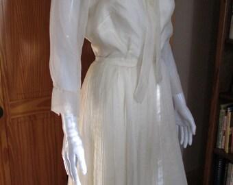Vintage White Organza/Organdy Two Piece Dress