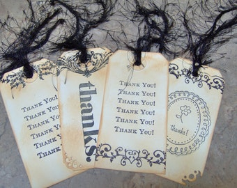 Thank You Vintage Style Gift Tags 4 Medium Tags - Gift Tags -  Ink Distressed and Stained Gift Tags