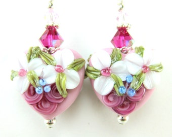 RESERVED  Pink Heart Earrings, White Pink Floral Lampwork Bead Earrings, Valentine's Day Earrings - Heartsong