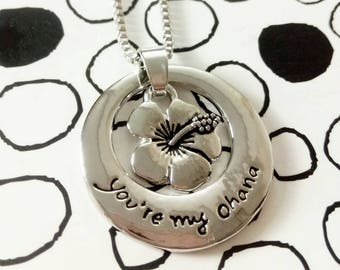 Lilo and Stitch You're My Ohana Engraved Pendant Necklace Disney inspired Jewellery Necklace