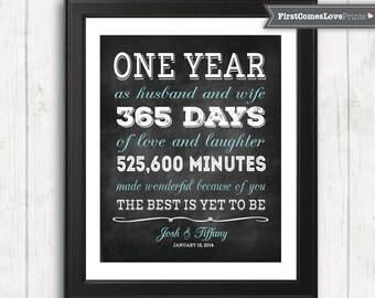 1st anniversary gift for husband wife personalized art print