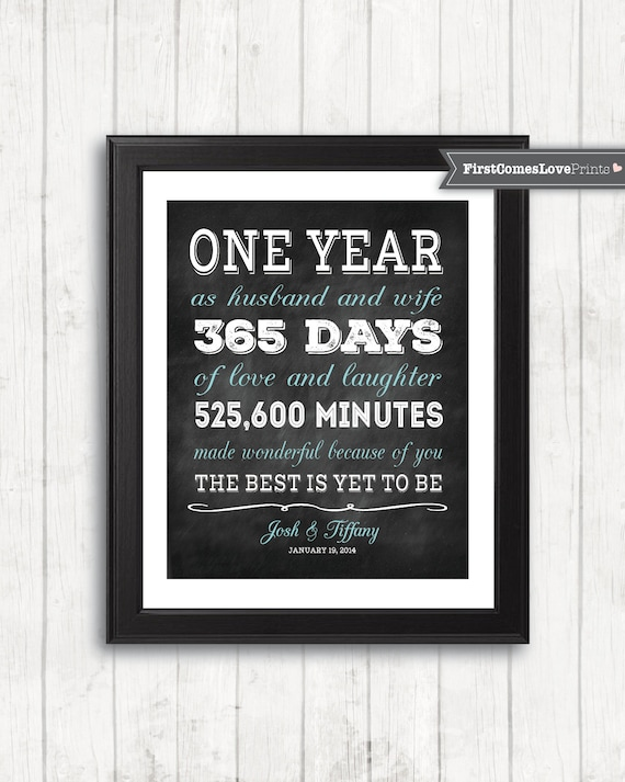 Chalkboard style first anniversary gift for husband for wife stopboris Choice Image