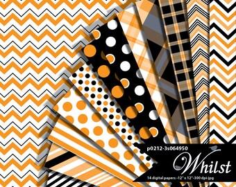 Halloween digital paper orange black chevron stripe plaid Halloween scrapbook paper : p0212 3s064950C