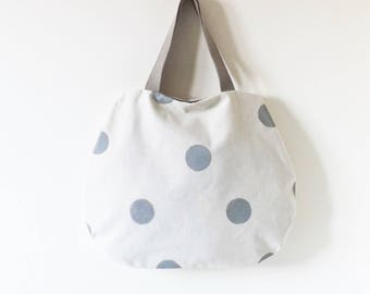 Beige bag with grey dots hand painted