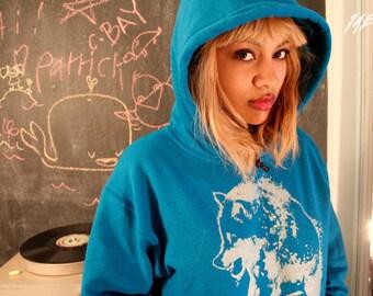 wolf hoodie, fall fashion, blue pullover hoodie, sapphire blue, silver wolf, wolf clothing, blue sweatshirt,  1AEON unisex Hoodie S-XXXL