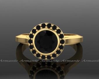Black Diamond Ring, Vintage Black Diamond Engagement Ring, Halo Wedding Ring, 14K Yellow Gold, Natural Diamonds, RE4BK