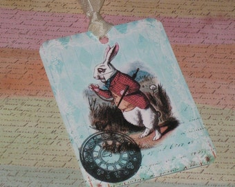 Set of Six Vintage Alice in Wonderland Gift Tags with Seam Binding ATC