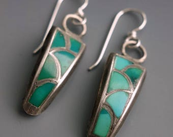 Zuni Dishta Style Inlaid Turquoise Sterling Earrings