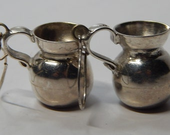 Mexican Taxco Sterling Silver danging hook earrings, JUGS or PITCHERS, very heavy