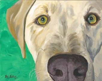 Yellow Lab Art Print, Yellow Lab print on Canvas or Paper, Yellow Labrador Art, Yellow Labrador Prints