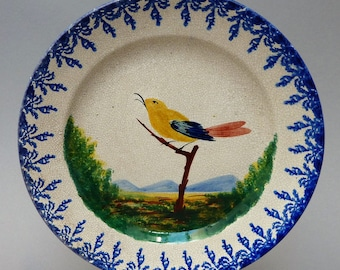 Nove Italy - Antonibon - antique majolica plate with singing bird