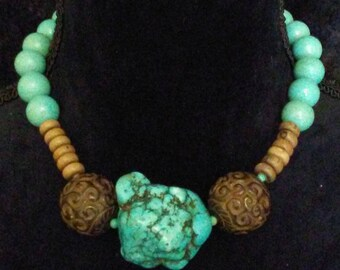 """Large 'turquoise"""" magnasite beads, hand carved antiqued jade beads, wood beads."""