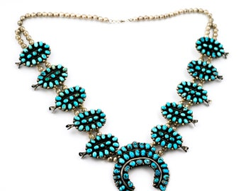 Stunning Vintage 1960s Navajo Morenci Turquoise Squash Blossom Necklace