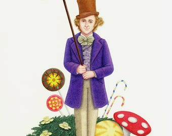 Willy Wonka Colored Pencil Fan Art Print