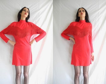 80's rocker/grunge/glam red stretch dress with lattice and fringed applique  .