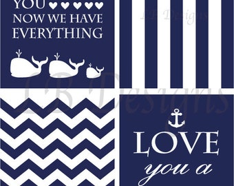 Set of 4 Navy Blue and White Whale Nautical Nursery  Prints - 8x10