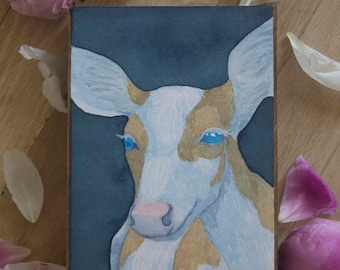 "Original Watercolor ""Demure"" - Piebald Deer Watercolor Painting"