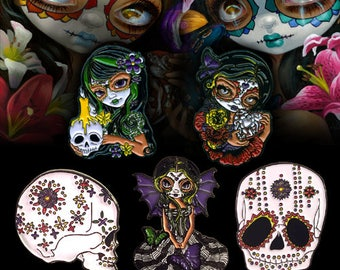 Pin Set: Dia de Los Muertos Collectible Enamel Pins by Jasmine Becket-Griffith Art lapel pin button day of the dead sugar skull milagros