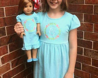 Doll and Me matching dresses- Girl and 18 inch doll matching dress- Dolly and me ruffle monogrammed dress- American Girl matching doll dress