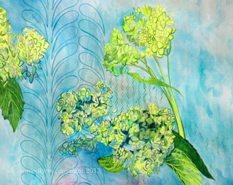 Hydrangeas in Citron and Turquoise