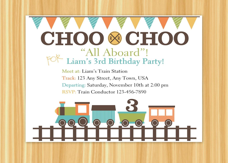 Train Invitation Train Party Train Birthday Party