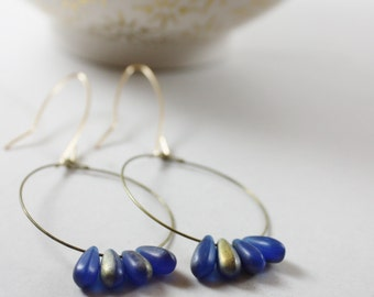 Minimalist hoop earrings, gold hoop earrings, unique hoops, boho earrings, gift for her, bridesmaid gift.