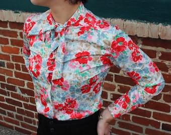 Floral Vintage Tie Neck Blouse