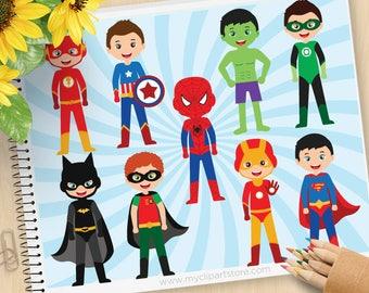Superhero Boy Clipart - Batman, Ironman, Superman, Flash, Spiderman, Ironman, Avengers, Hulk, Commercial Use, Vector clip art, SVG Cut Files