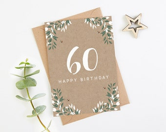 60th Birthday Card Botanical Kraft