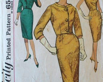 1960s Vintage Fitted Dress and Jacket Sewing Pattern - Simplicity 4173 - Bust 36