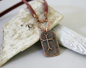 Men's Leather Cord Antiqued Copper Cross Necklace, Religious Faith Necklace, Affirmation Necklace, Masculine Necklace, Religious Jewelry