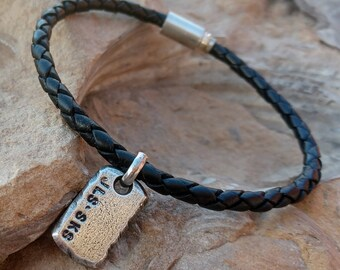 Mens Personalized Leather Bracelet, Custom Initial Tag, Gift for Man, Rugged, Masculine, Handmade Sterling Silver, Name Bracelet, Dad