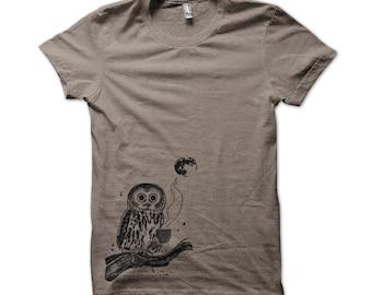 Light Brown Coffee Owl, Bird, Moon Triblend T-Shirt, Unisex, Men, Women, Bird, Gifts for Him or Her, Silkscreen, Made in USA