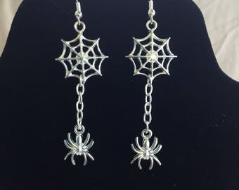Spider and  Web Halloween Earrings